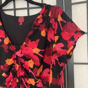 Anthropologie 212 Red & Black Floral Blouse